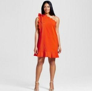 VICTORIA BECKHAM 1X One Sleeve Orange Peplum Dress